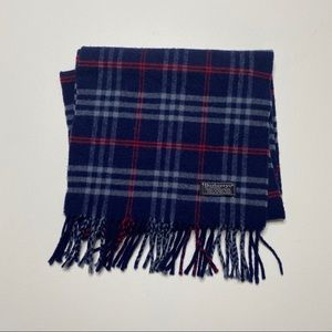 Burberry's Vintage Cashmere Scarf Navy Blue Red